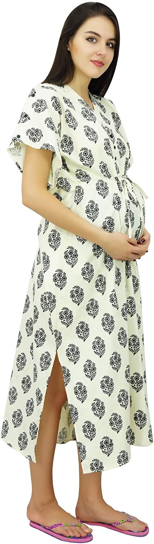 Bimba Nursing Cotton Kaftan Front Buttons Maternity Night Wear Caftan - to Be Moms Gift Baby Shower