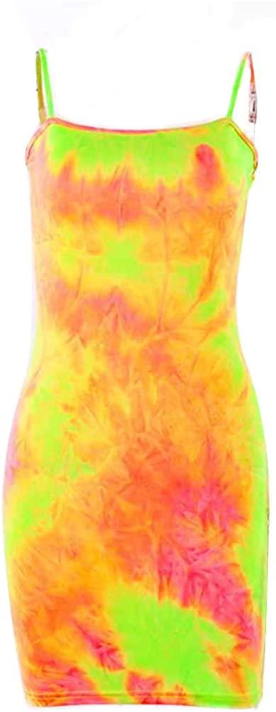 Summer Tie Dye Neon Rainbow Spaghetti Strap Bodycone Casual Party Mini Dress Clubwear