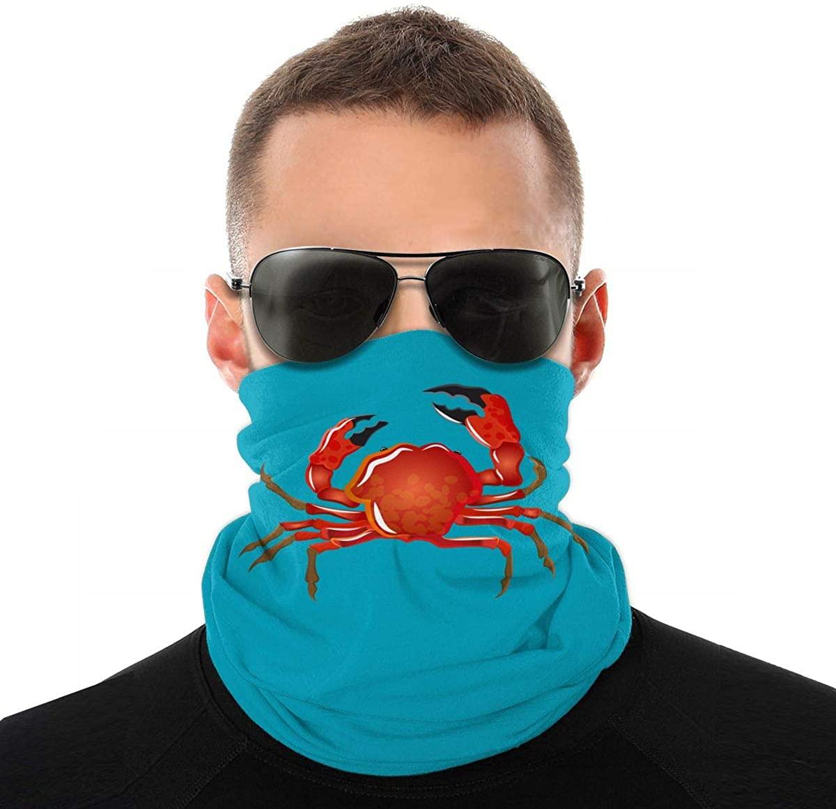 Soft-shell crab Neck Gaiter Unisex adult Windproof Mask Dust Sports novelty Face Mask Half Balaclava Weather bandana women men Outdoors Festivals