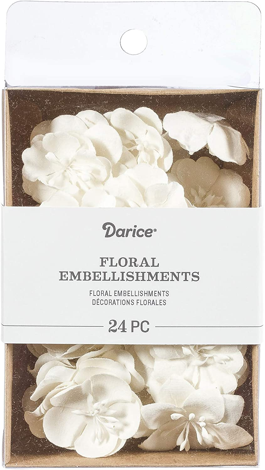 Darice White, Mulberry Floral Embellishments, 1.75 inches, 24 Pack