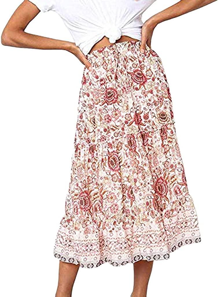 NREALY Falda Womens Boho Floral Print Elastic High Waist Pleated A Line Midi Skirt