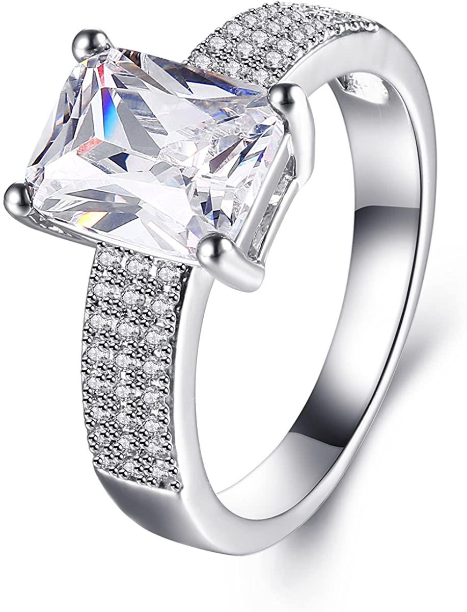 Jiangyue Women Rings White AAA Cubic Zirconia Rhodium Plated Ring Charming ElegantTrendy Jewelry Size 5 6 7 8 9