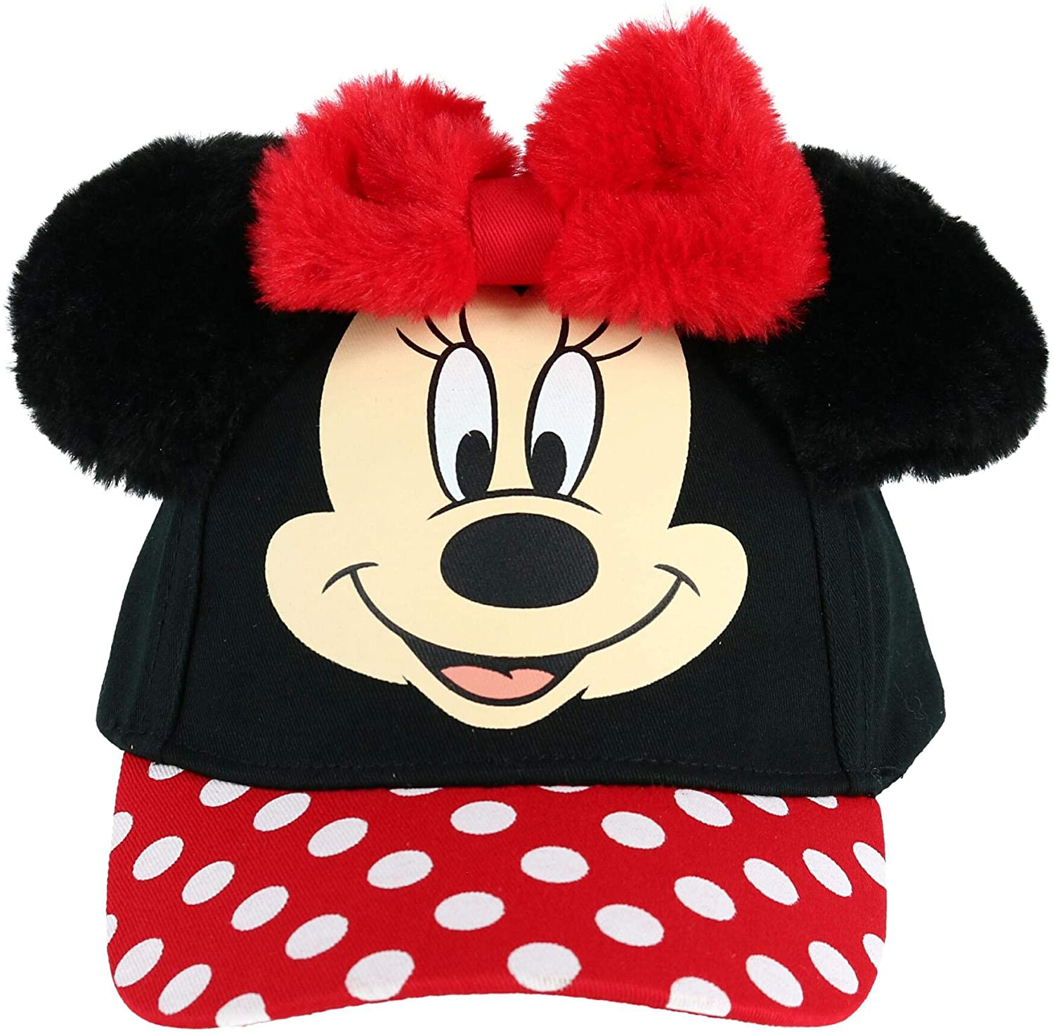 Jerry Leigh Disney Toddler Minnie Mouse Big Face Baseball Cap with 3D Plush