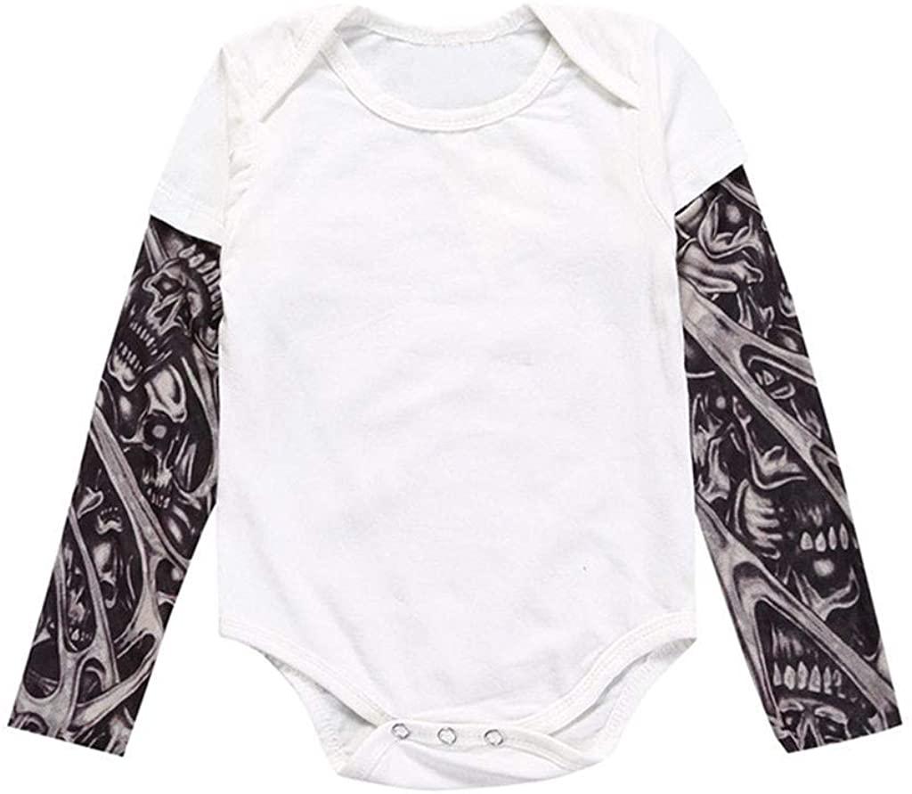 FIN86 Newborn Infant Baby Boy Tattoo Printed Long Sleeve Patchwork Romper Spring Summer Cotton Jumpsuit Bodysuit Sunsuit