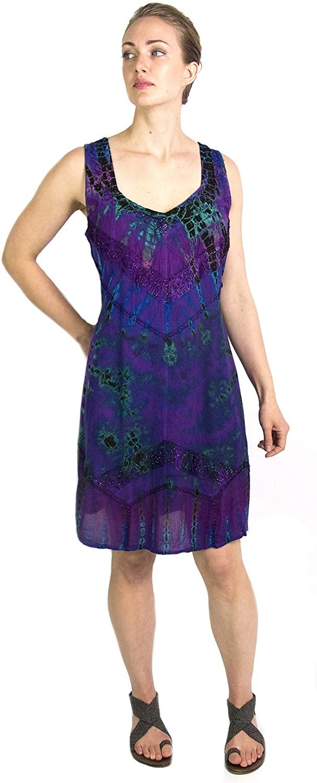 Sakkas Luciana Womens Tie Dye Bohemian Swing Midi Dress with Ties and Smock Back