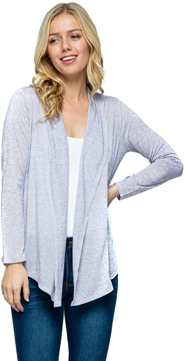 Lotiful Drape Open Front Lightweight Long Sleeve Cardigan Sweaters for Women (Extra Large, Heather Violet)