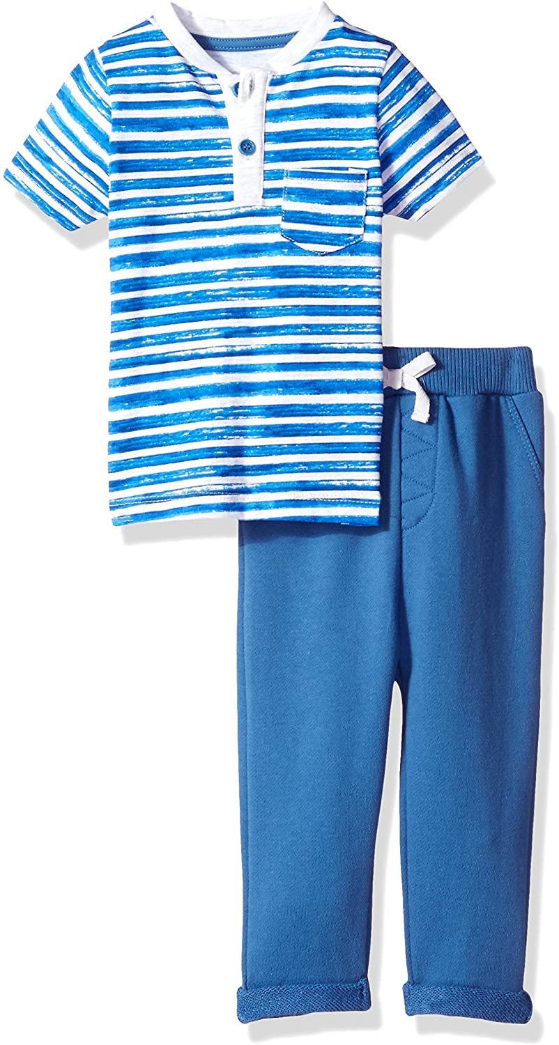 Isaac Mizrahi Baby Boys' 2 Pc Button Front S/s Tee with Cotton French Terry Pant Set