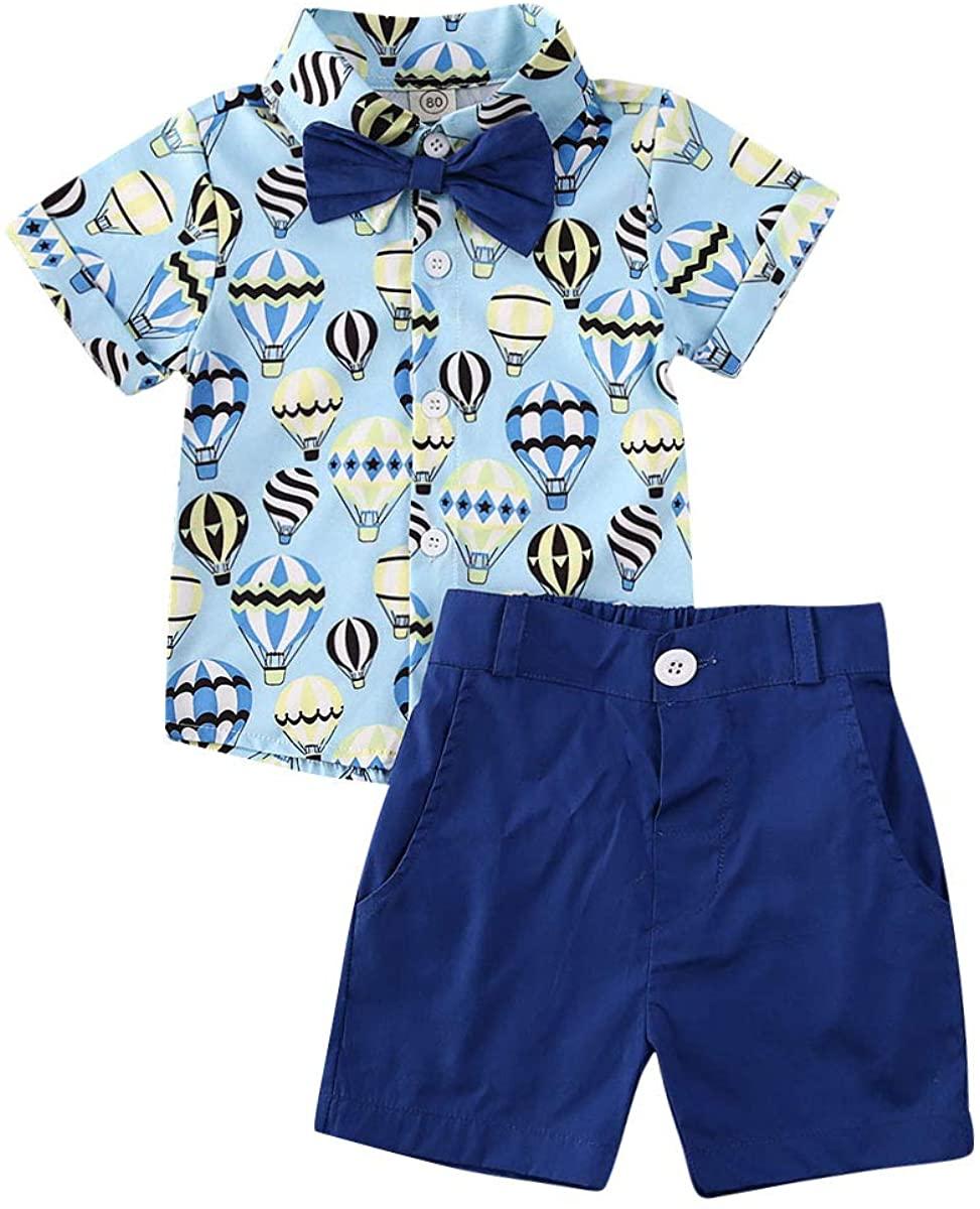 Toddler Baby Boy Summer Outfits Flamingo Short Sleeve Button Down Shirt Casual Shorts Set 2pcs Gentlemen OutfitsBalloon/Dark Blue 18-24M