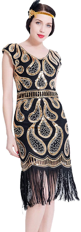 1920s Flapper Dresses Vintage Women Gatsby Inspired Dress Fringed Art Decor Fancy Dress for Prom Party