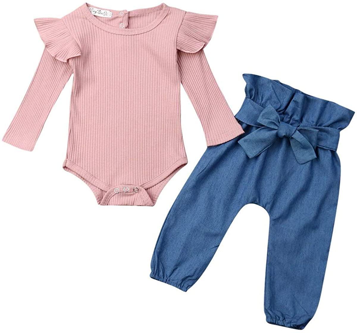 LXXIASHI 2pcs Infant Newborn Baby Girls Long Ruffle Romper Tops + Pants Clothes Outfit Sets
