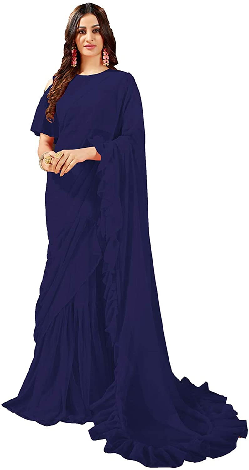 Saree for Women Bollywood Wedding Designer Blue Sari with Unstitched Blouse.