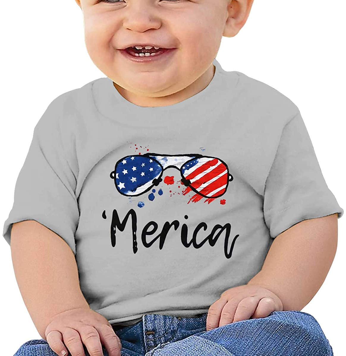 Andea Merica Sunglasses Soft and Comfortable Cotton Baby Short-Sleeved T-Shirt
