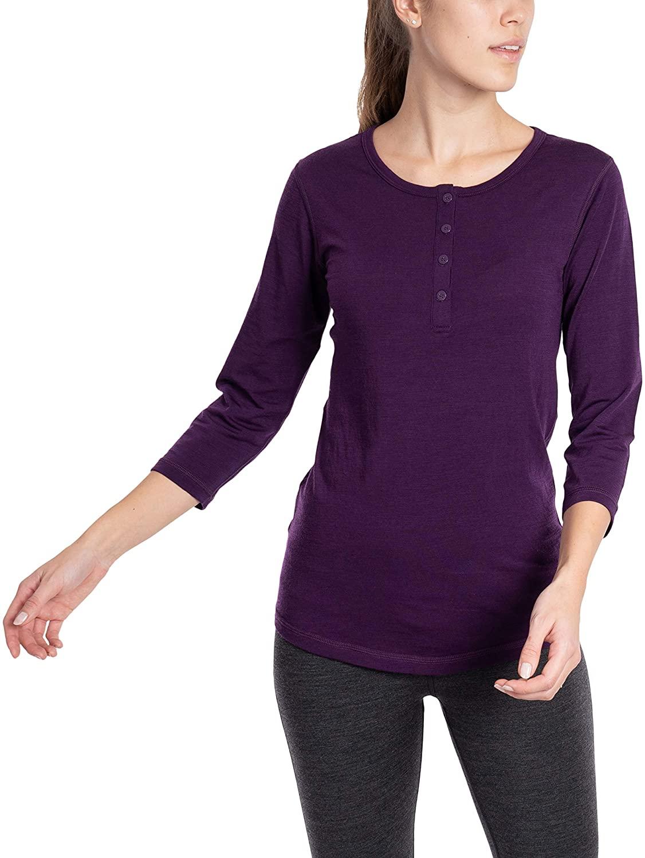 Woolly Clothing Co. Women's Merino Wool 3/4 Sleeve Henley - Ultralight - Wicking Breathable Anti-Odor