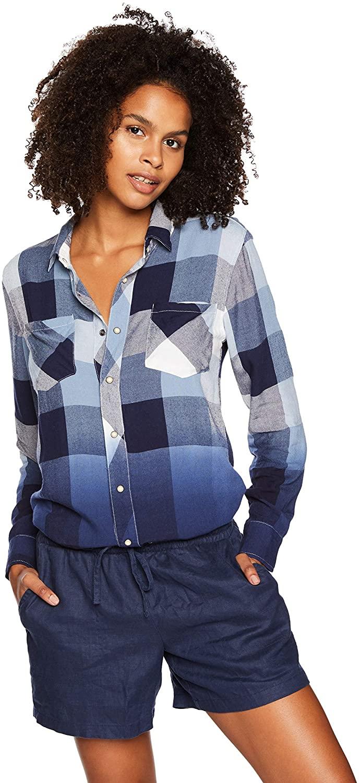 Silver Jeans Co. Women's Dip-dye Plaid Button Down Shirt
