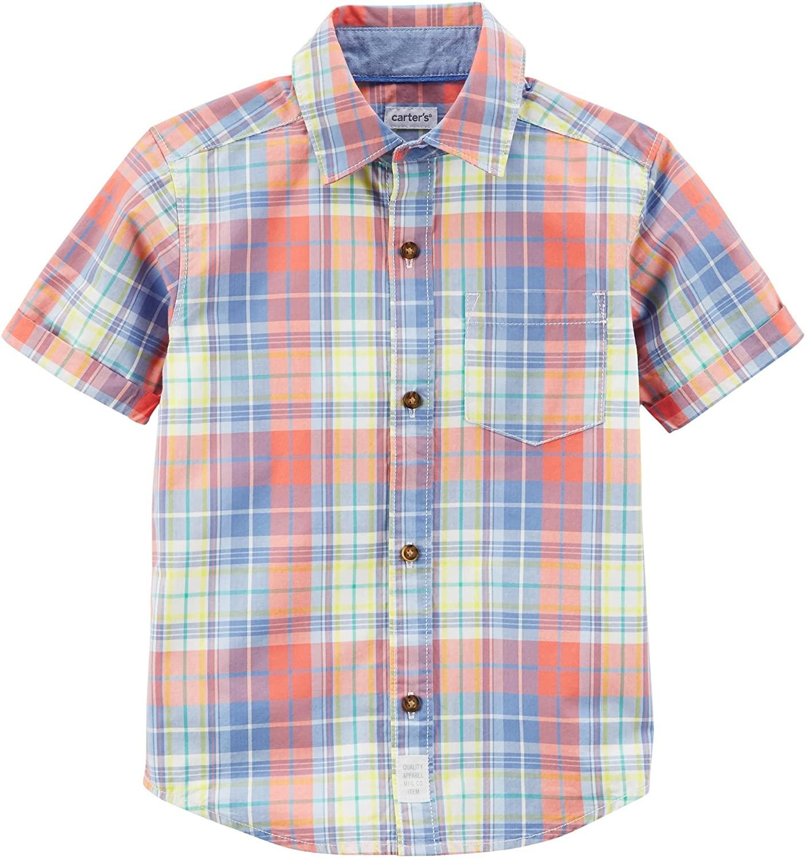 Carter's Boys' 4-8 Woven Short Sleeve Button up Top