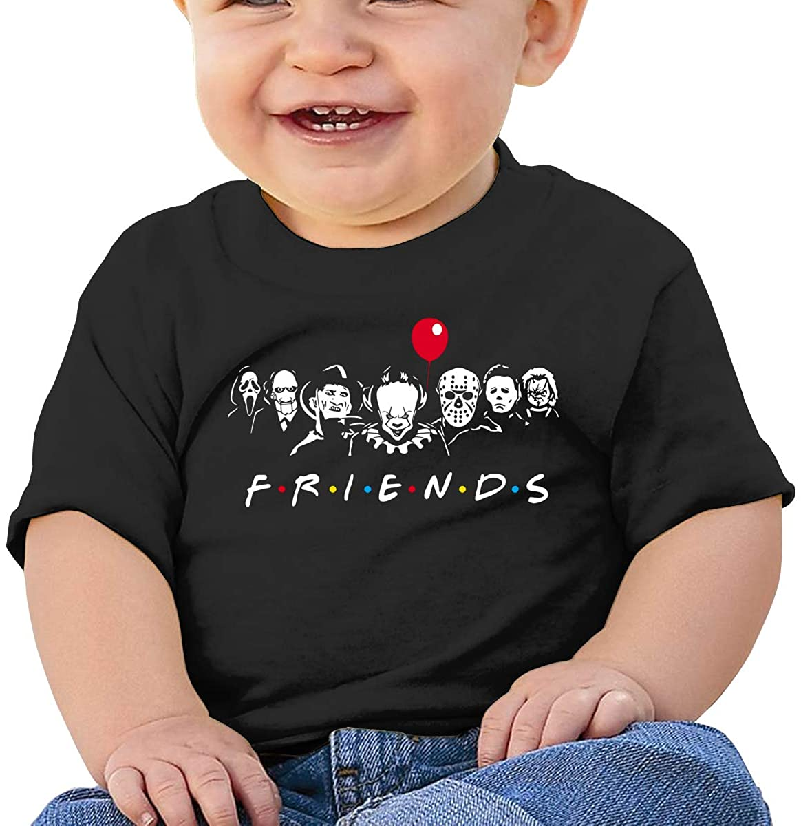 Baby T-Shirt Cute Infant Home Friends Horror Halloween Graphic Toddler T Boys and Girls Soft Short Sleeve Cotton Kids Shirt