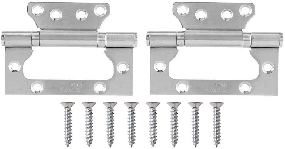 Sturdy and Reliable 2Pcs Stainless Steel Hinge Household Door Flat Open Hinge Furniture Hardware Accessories