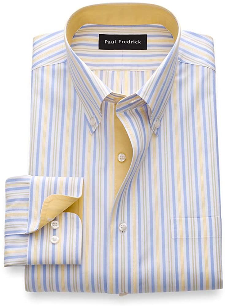 Paul Fredrick Men's Slim Fit Non-Iron Cotton Stripe Dress Shirt