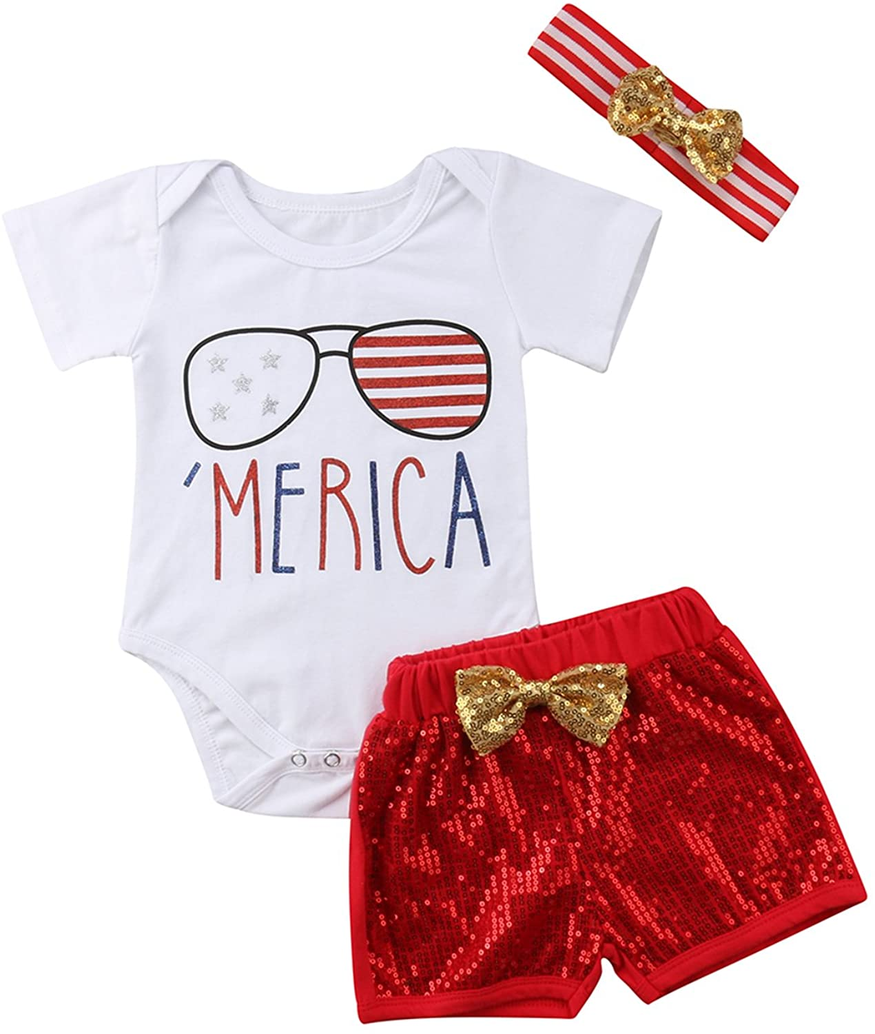 WIFORNT Infant Baby Girls Merica Flag Stripe Star Print Jumpsuit Romper+Sequins Shorts+Headband 3pcs Outfits