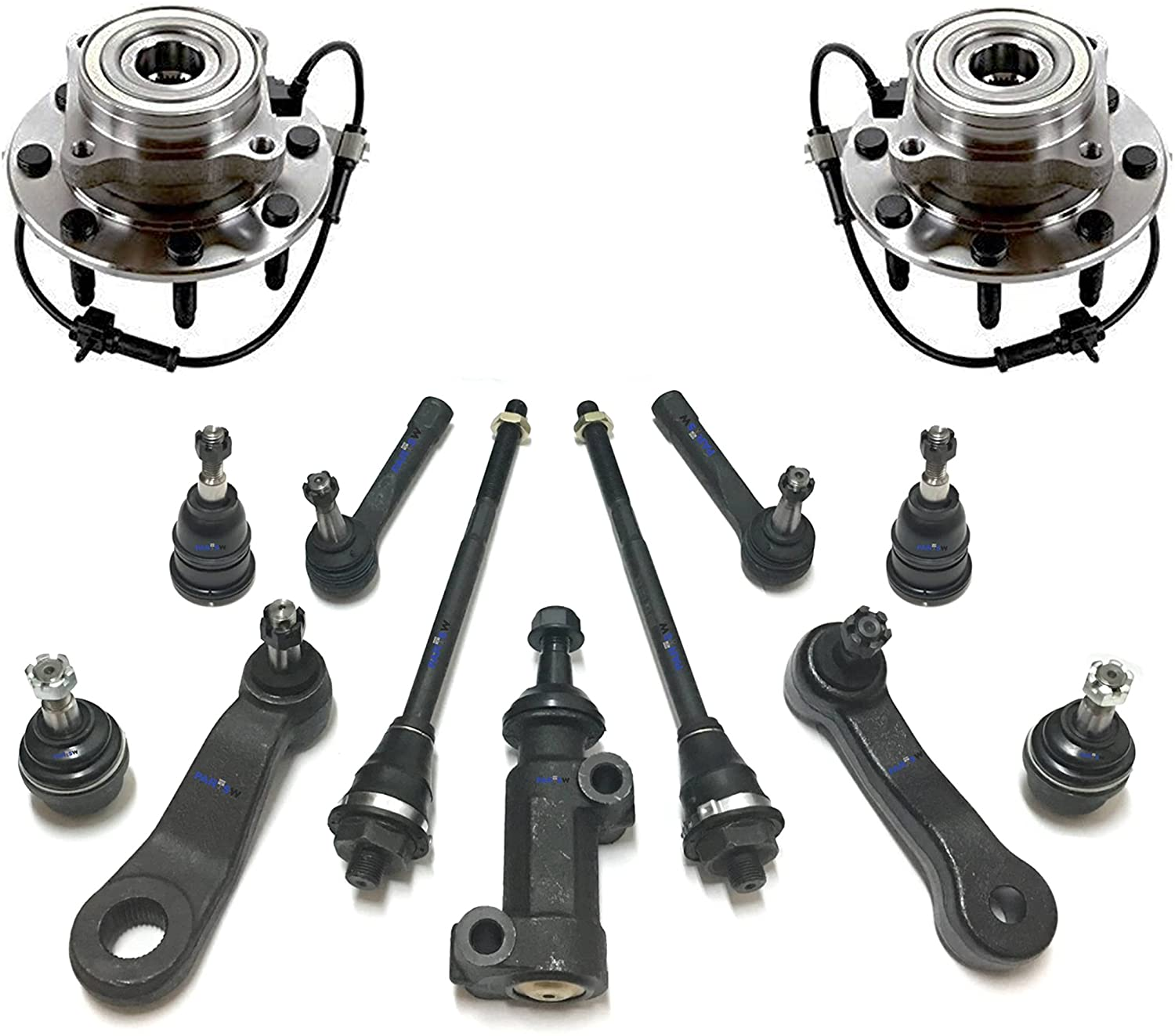 PartsW 13 Pc New Suspension Kit for Avalanche Silverado Suburban Sierra Yukon XL Wheel Hub Bearing Asseembly, Tie Rod Ends, Idler & Pitman Arms, Idler Arm Assembly, Sway Bar End Links, Ball Joints 4WD