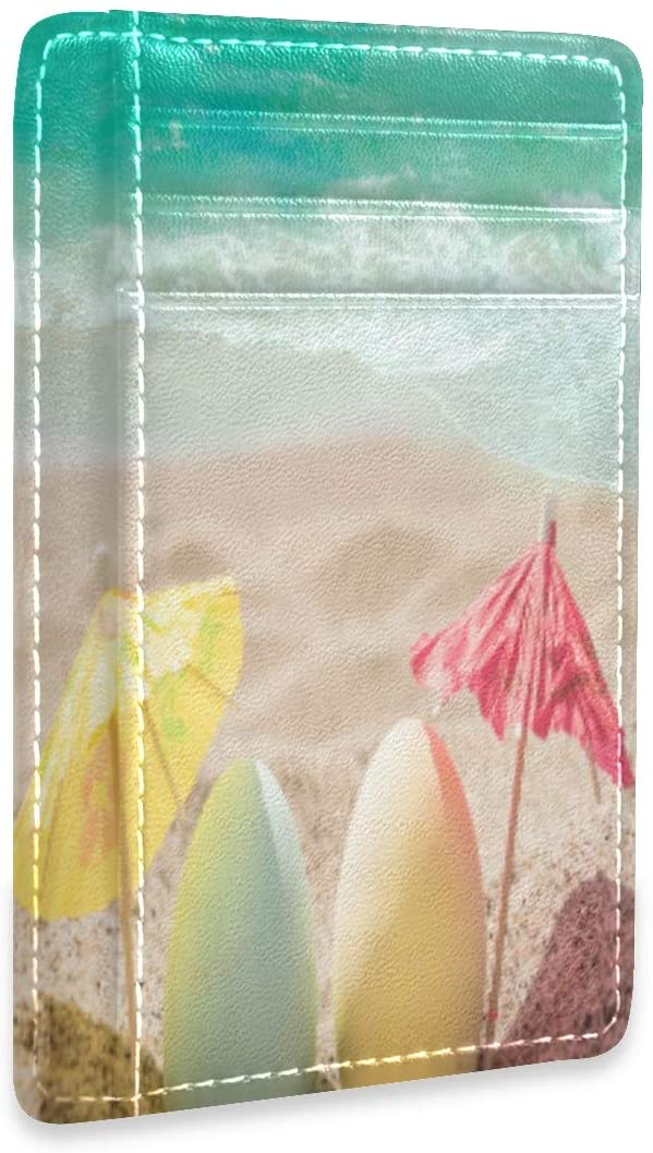 Happy Easter Background with Eggs and Coctail Umbrellas On The Sandy Beach Near Ocean RFID Credit Card Holders Wallet Womens Mens Buissnes Card Case Organizer