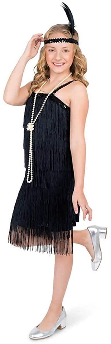 Girls Black Flapper Costume