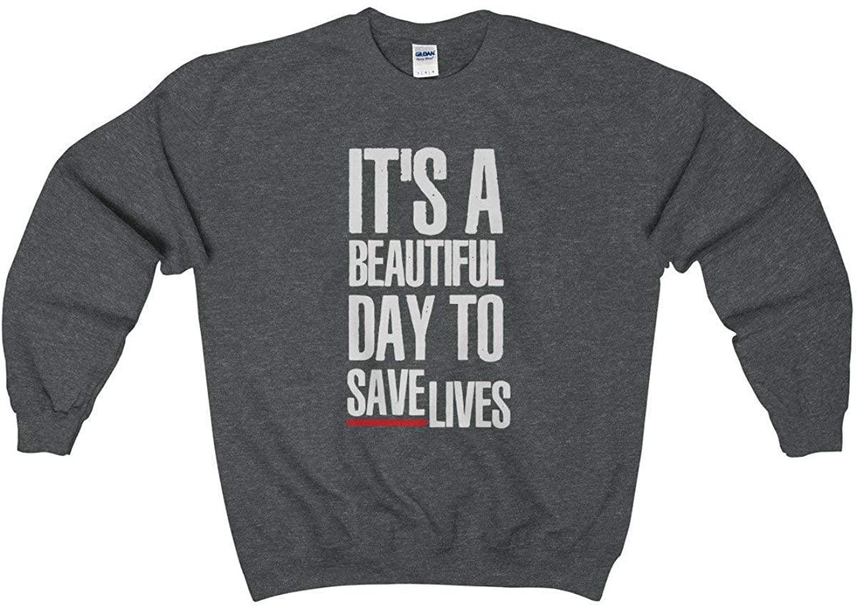 Grey's Anatomy Sweatshirt Quote It's A Beautiful Day to Save Lives Mens Unisex Crewneck Fleece Jumper