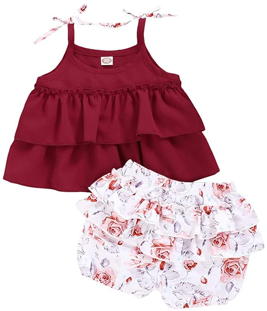 eipogp Infant Toddler Girls Summer Cute Beach Outfits Sleeveless Vest Tops T-Shirt Flower Short Pants Two Piece Clothes Set