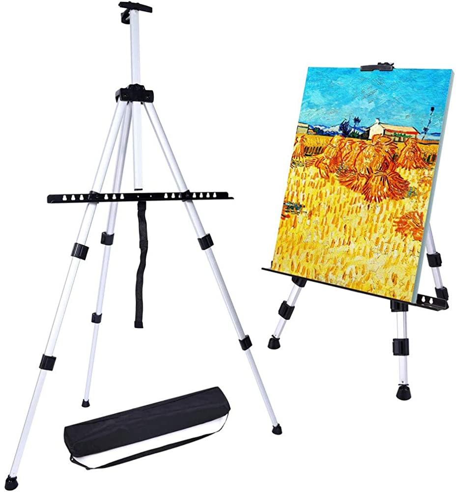 Aluminum Field Easel Stand with Carrying Bag for Table-top/Floor, Art Easels with Adjustable Height from 21 to 66-Inch (Silver)