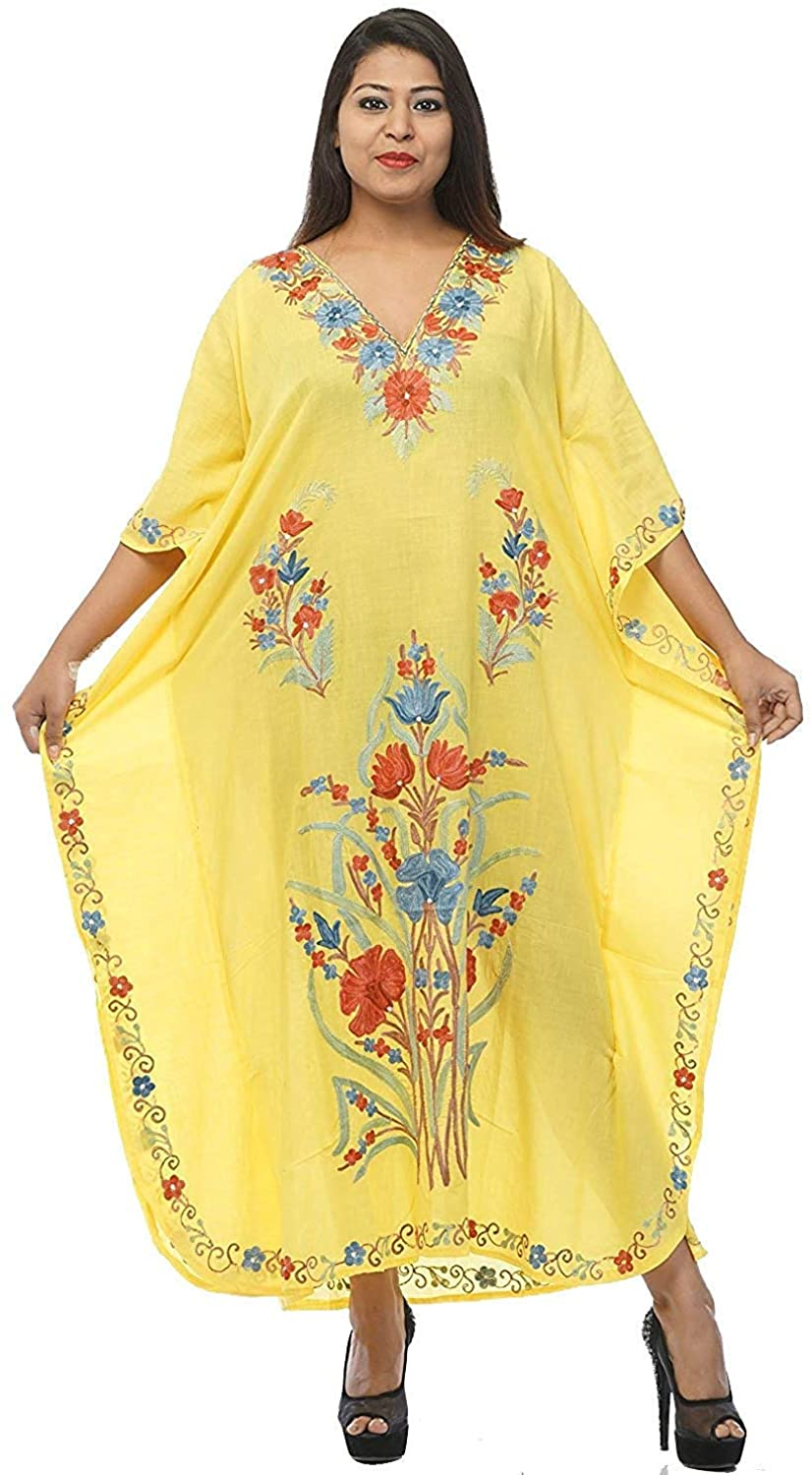 Odishabazaar Long Kashmiri Kaftan with Ari Hand-Embroidered Flowers and Paisleys