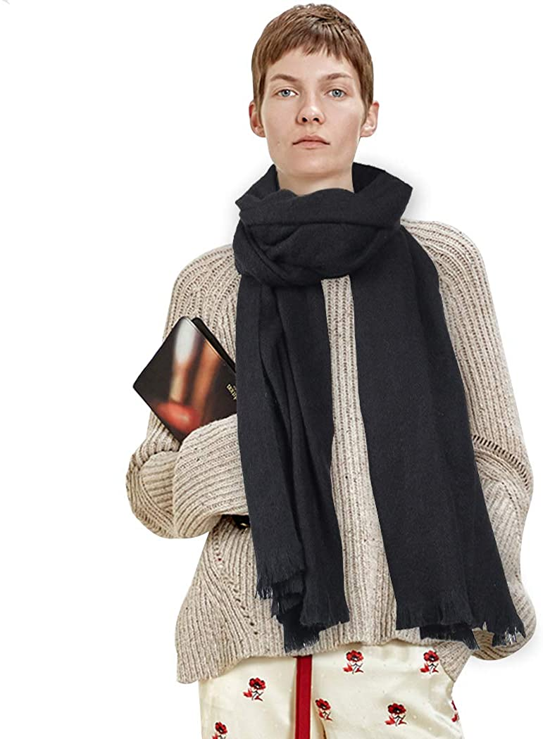 Wool Winter Scarf,HOUPPE Women's Men's Warm Cozy Chunky Blanket Long Shawl Wraps Solid Large Scarves