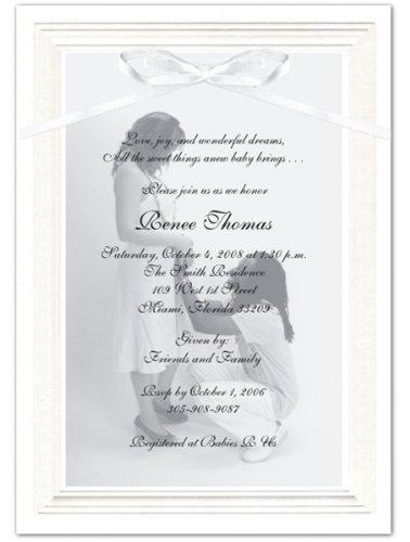 Embossed Border Photo Baby Shower Invitations - Set of 20