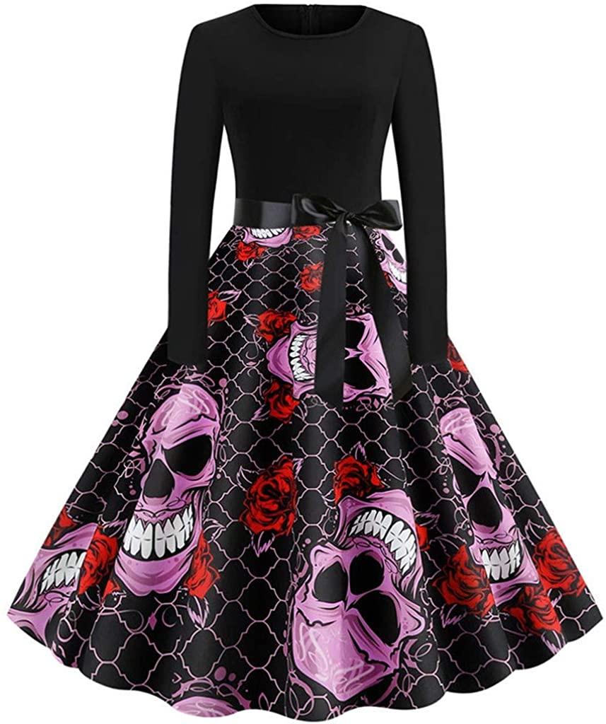 Adeliber Women's Dresses Halloween Vintage Long Sleeve O-Neck 3D Taro Print Party Swing Dress
