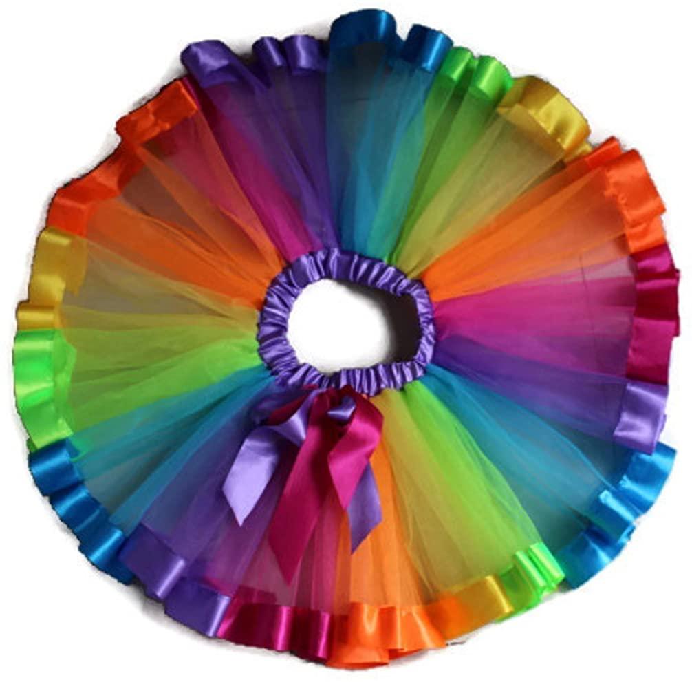 Rush Dance Birthday Rainbow Ribbon Bow Ballerina Girls Dress-Up Princess Costume Tutu (Large (5-7Y))