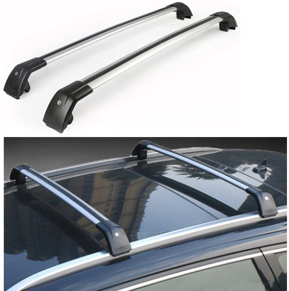 Lequer Cross Bars Crossbars Fits for Hyundai Tucson 2016-2020 Baggage Carrier Luggage Roof Rack Rail Lockable Adjustable Silver