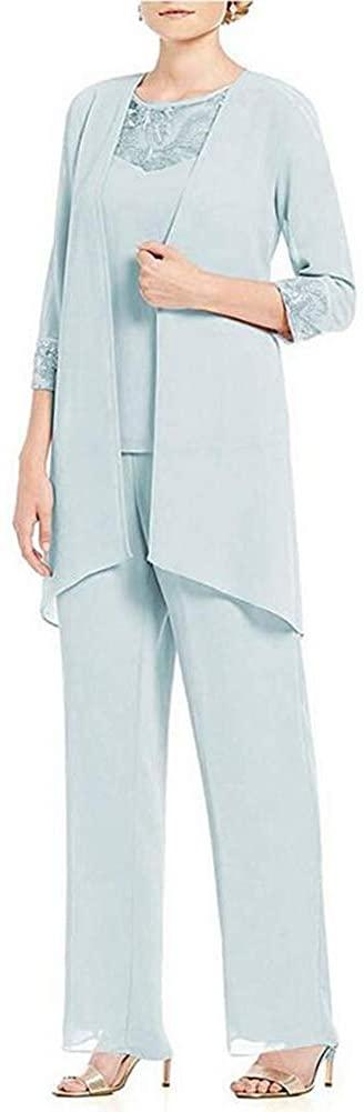 Women's Light Blue 3 PC Chiffon Pants Suit Outfit Plus Size Dress Suit for Mother of The Bride Evening Gowns US22W