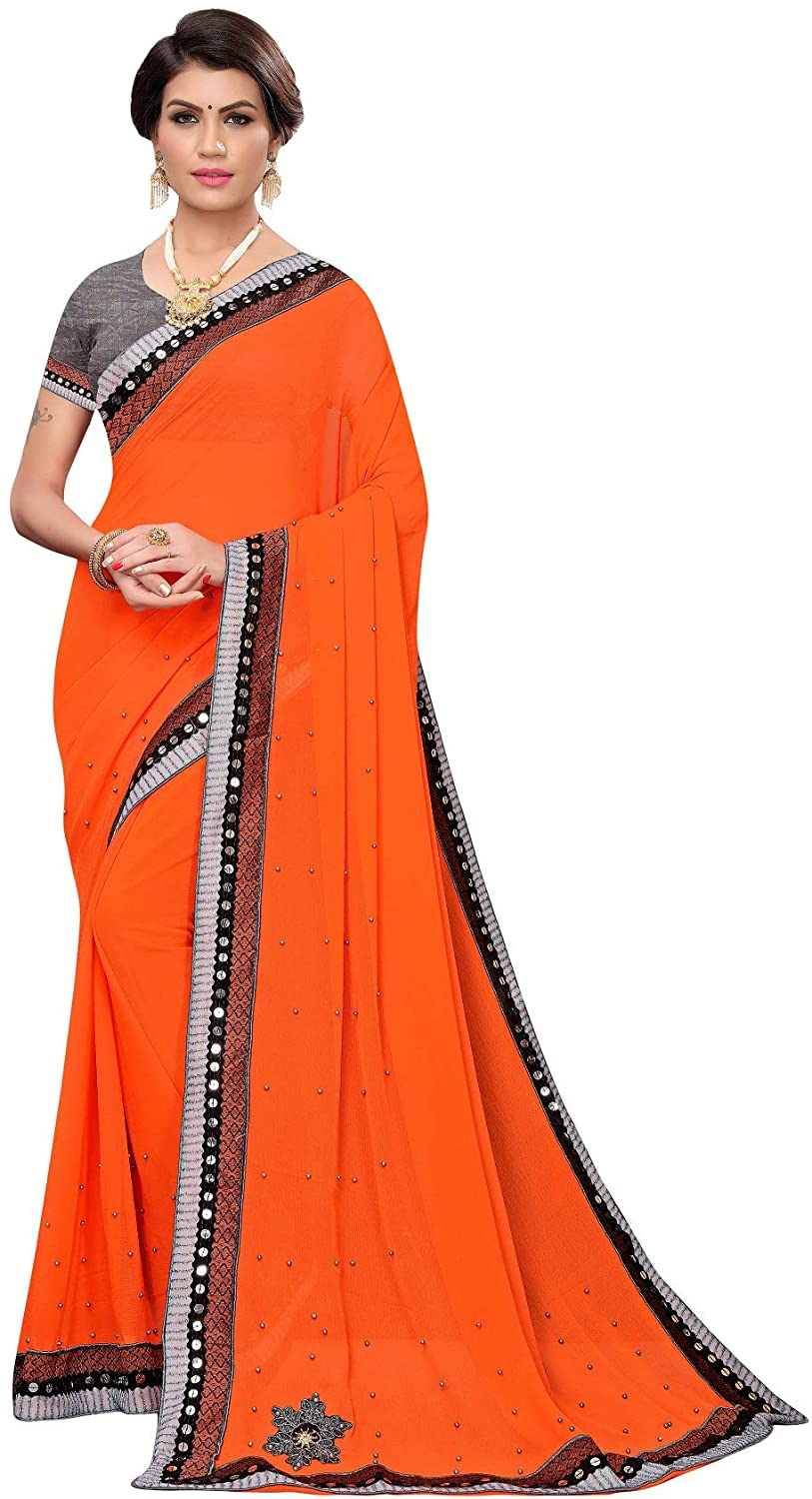 Peegli Saree Indian Women's Chiffon Saree Mirror Work Sari with Blouse Piece
