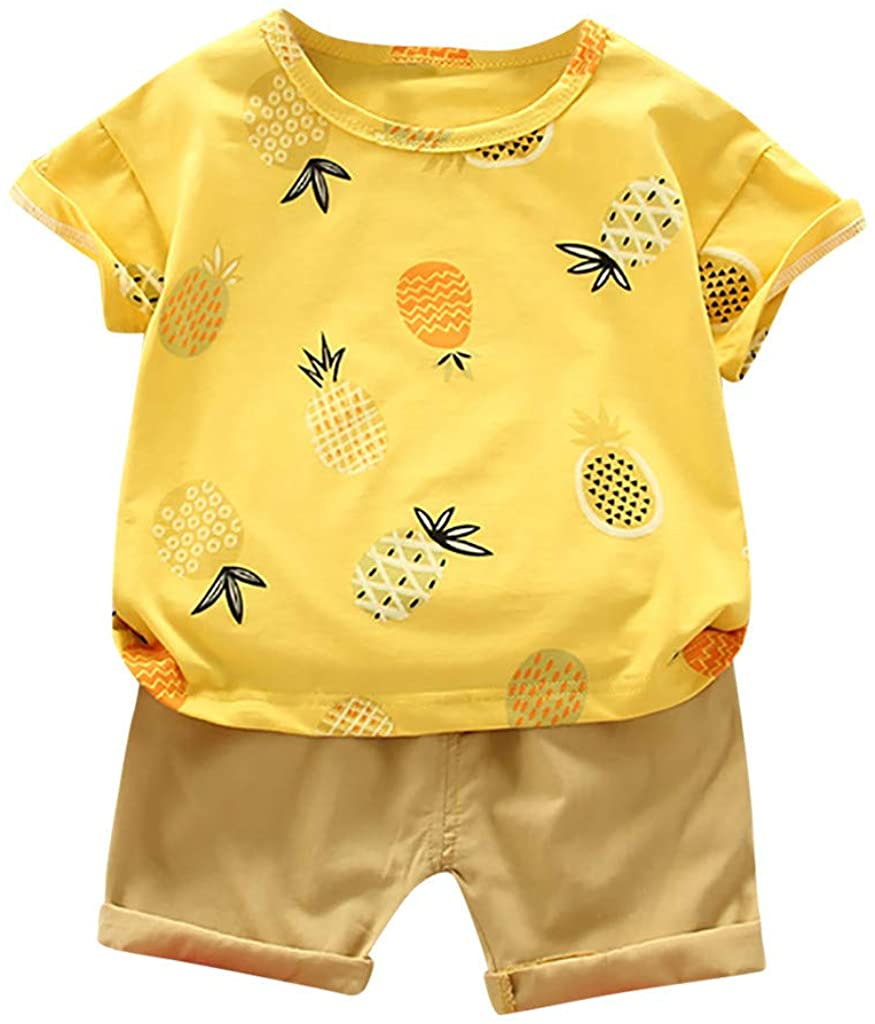JYS Apparel 6M-3T Toddler Baby Kids Boys Pineapple Printed Outfits T-shirt Tops Solid Shorts Pants Casual Clothes Set