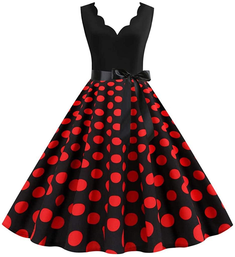 Women Vintage Dresses Summer Dot Print Sleeveless Casual Evening Party Prom Dress