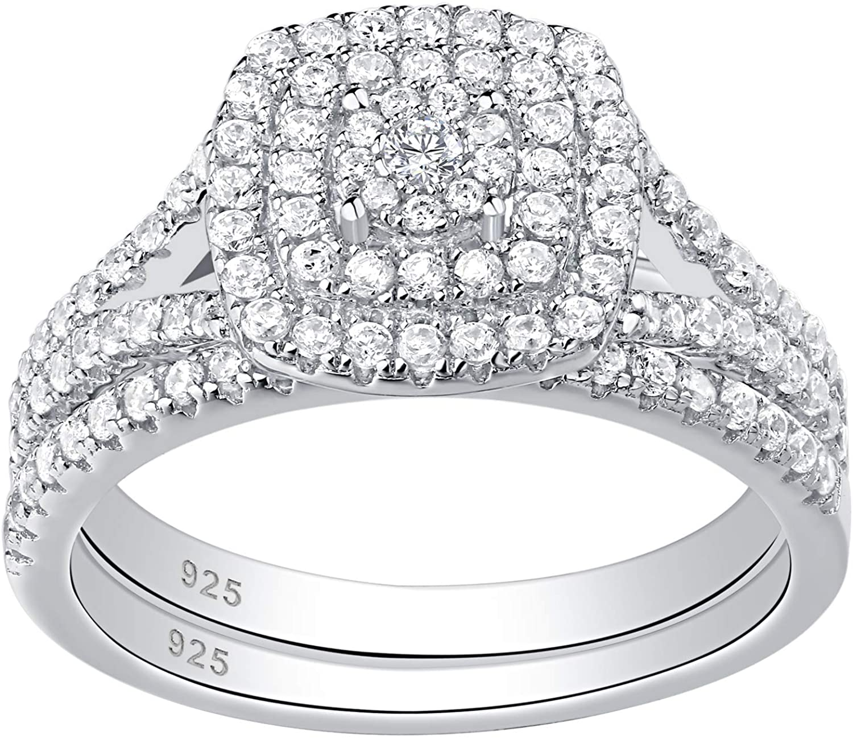 Wuziwen Cluster Flower Wedding Engagement Rings for Women Sterling Silver Cz Cubic Zirconia