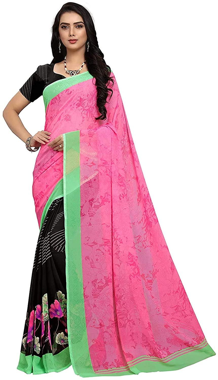 Indian Decor & Attire Georgette with Blouse Piece Saree (PC1061_Multicoloured_One Size)