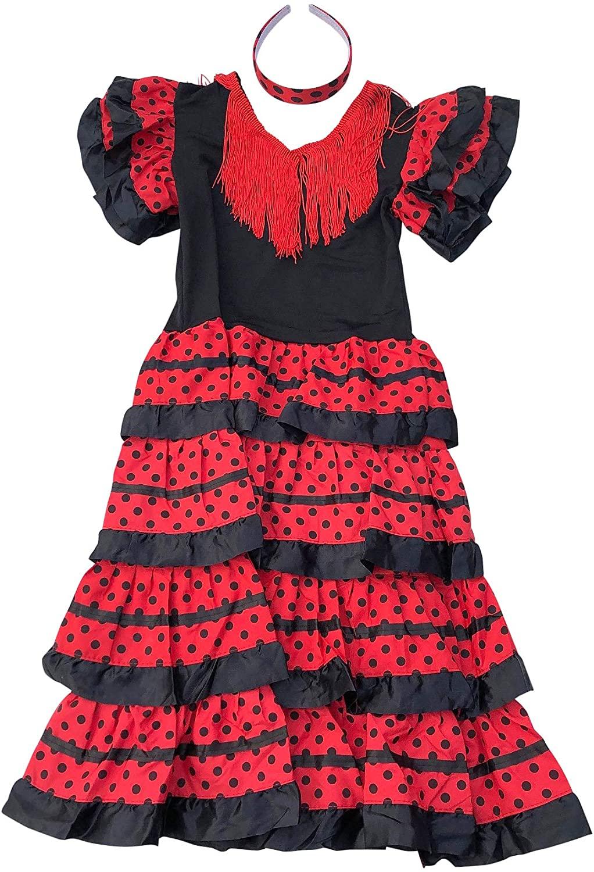 La Senorita Spanish Flamenco Dress Costume - Girls/Kids - Black/Red (Size 16-12 -13 Years, Black red)