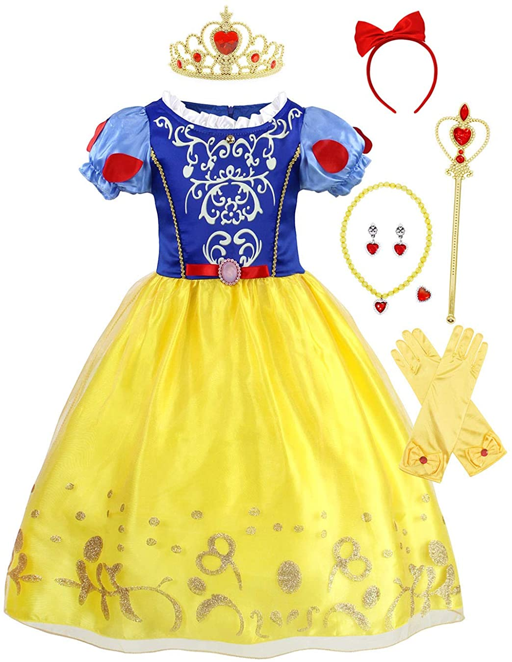 WonderBabe Princess Costume for Little Girls Halloween Dress up Birthday Party Outfits 1-12 Years