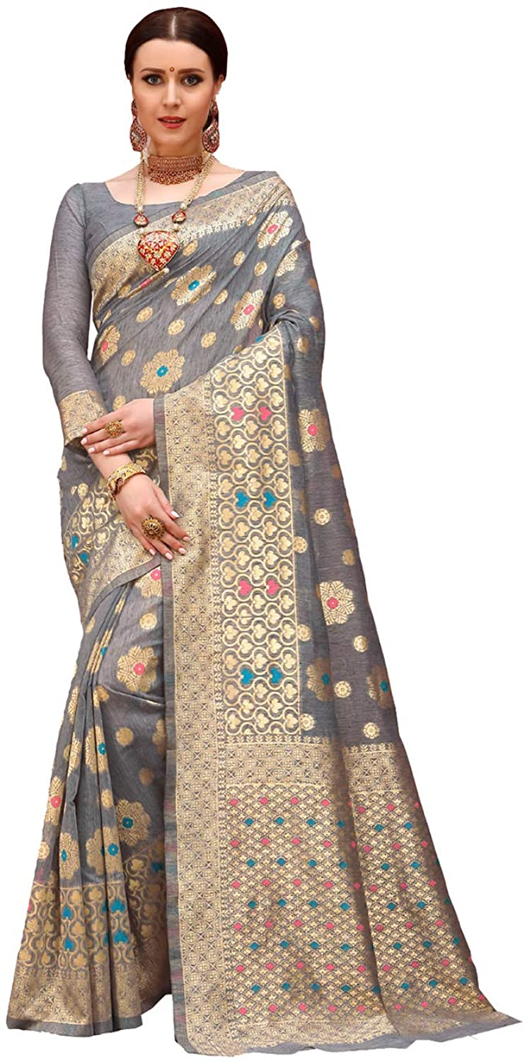 Indian Saree for Women Ethnic Sari Grey Spun Cotton Sari with Unstitched Blouse. ICW2777-6