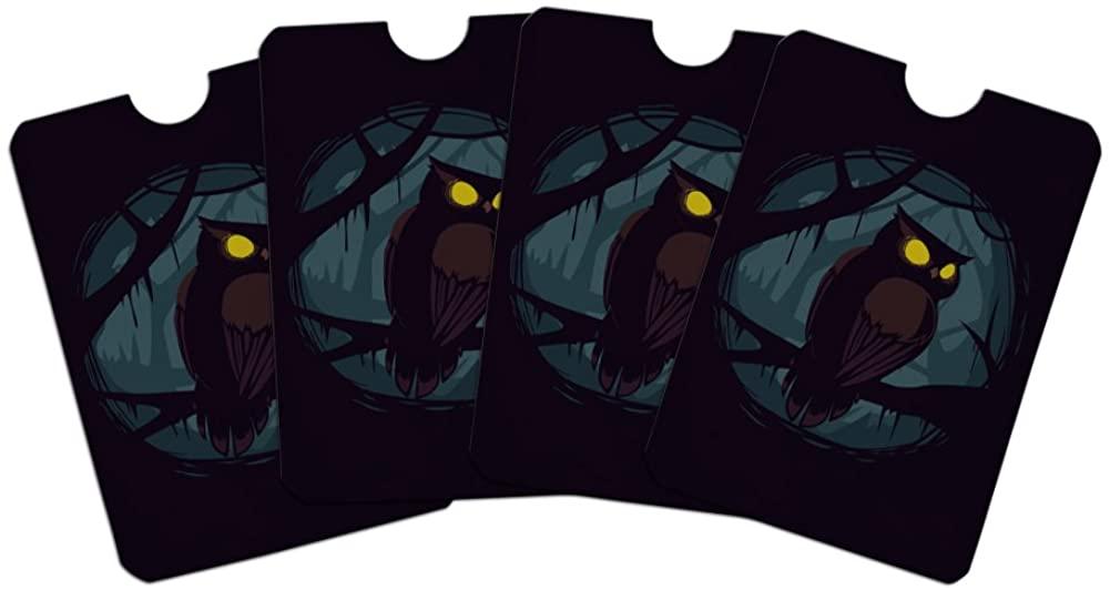 Horned Owl Night Eyes Credit Card RFID Blocker Holder Protector Wallet Purse Sleeves Set of 4