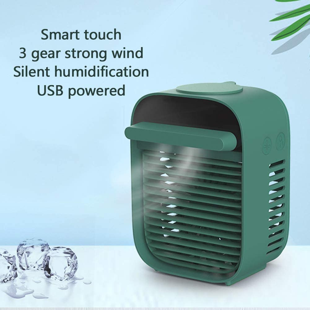 Portable Evaporative Cooler Spray Fan,personal Air Conditioner USB Desktop Mini Air Humidifier Mute for Office Home Bedroom Green 12x17cm(5x7inch)