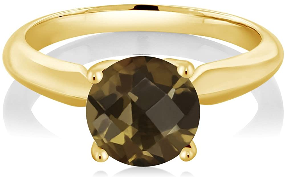 Gem Stone King 1.80 Ct Round Checkerboard Brown Smoky Quartz 925 Yellow Gold Plated Silver Solitaire Engagement Ring