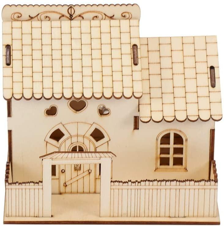 lliang Money Boxes Creative Wooden Villa Small Courtyard Piggy Bank Wooden Home Decoration Night Light Money Box