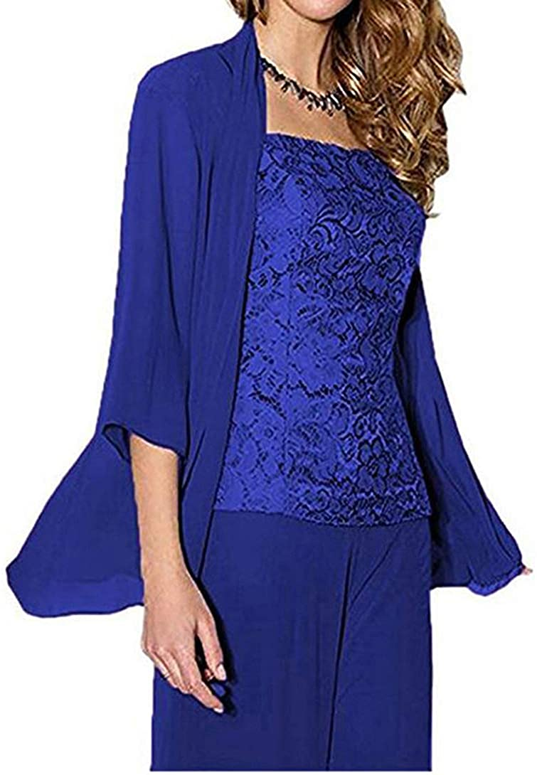 Women's Royal Blue 3 PC Chiffon Mother of The Bride Pants Suit with Long Sleeves Appliques Lace Pleat Jacket for Weddinng US16W
