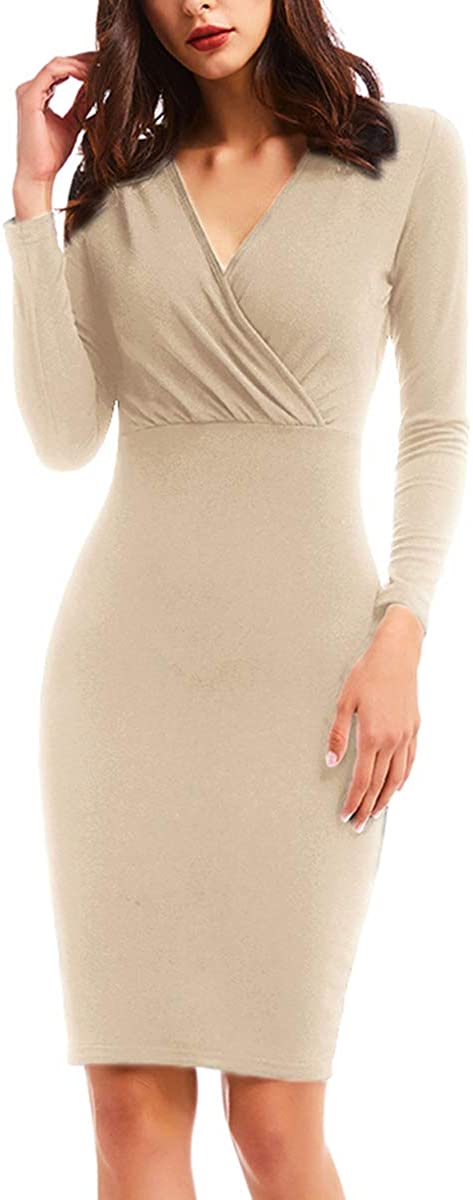YCOOCE Women Retro Pencil Dress Long Sleeve Ruched Wrap Party Dresses with Knee Length